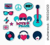 trendy british musical patches  ...   Shutterstock .eps vector #580326520