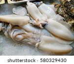 fresh squid and seafood in...   Shutterstock . vector #580329430