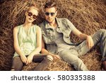 fashionable models wearing... | Shutterstock . vector #580335388