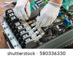 close up of a male electrician...   Shutterstock . vector #580336330