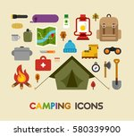 camping object tools supplies... | Shutterstock .eps vector #580339900
