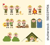 people who camp and various... | Shutterstock .eps vector #580339906