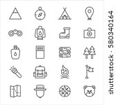 camping object tools line icons ... | Shutterstock .eps vector #580340164