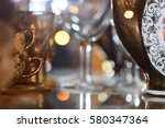 lot of crystal glasses and cups ... | Shutterstock . vector #580347364