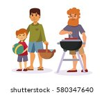 picnic setting with fresh food... | Shutterstock .eps vector #580347640