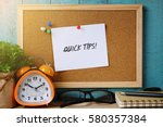 paper note on cork board... | Shutterstock . vector #580357384