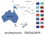 oceania map and flags | Shutterstock .eps vector #580362859