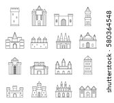 towers and castles icons set.... | Shutterstock . vector #580364548