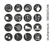 school icon set in circle... | Shutterstock .eps vector #580365148
