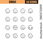emoji flat icon set. collection ... | Shutterstock .eps vector #580372009