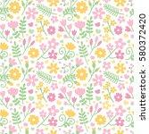 vector seamless floral pattern... | Shutterstock .eps vector #580372420