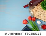 passover holiday concept seder... | Shutterstock . vector #580380118