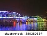 haizhu bridge night cityscape... | Shutterstock . vector #580380889
