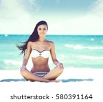 beautiful and sexy young girl... | Shutterstock . vector #580391164