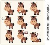 funny little horse set in... | Shutterstock .eps vector #580400860