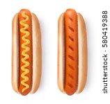 Stock photo hot dog with mustard isolated on white background 580419388