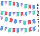 party flags garlands set on