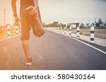 man doing exercises and warm up ... | Shutterstock . vector #580430164