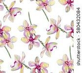 seamless floral pattern  orchid ...   Shutterstock . vector #580432084