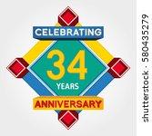 34 years anniversary... | Shutterstock .eps vector #580435279