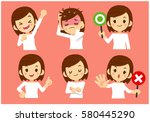 vector set of women in casual... | Shutterstock .eps vector #580445290