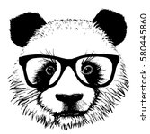 hand drawn panda with sunglasses | Shutterstock .eps vector #580445860