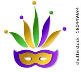 carnival paper mask with cap ... | Shutterstock .eps vector #580449694