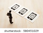 selecting mobile phone company | Shutterstock . vector #580451029