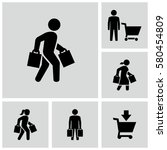 person carrying shopping bags... | Shutterstock .eps vector #580454809