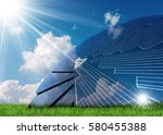 solar panel in the shape of a... | Shutterstock . vector #580455388