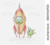 cute alien sits in the rocket... | Shutterstock .eps vector #580456900