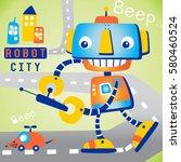 robot city vector cartoon... | Shutterstock .eps vector #580460524