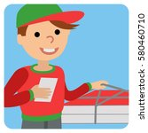 pizza delivery man in uniform... | Shutterstock .eps vector #580460710