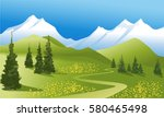 mountain landscape with green... | Shutterstock .eps vector #580465498