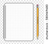 blank realistic notepad... | Shutterstock .eps vector #580469680
