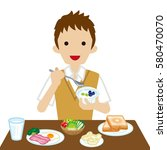 schoolboy eating  breakfast | Shutterstock .eps vector #580470070