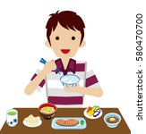 young men eating japanese... | Shutterstock .eps vector #580470700