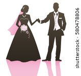 elegant bride and groom posing... | Shutterstock .eps vector #580478806