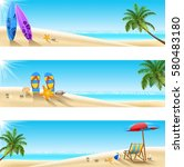 set of three tropical beach | Shutterstock .eps vector #580483180