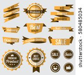 set of yellow badges   labels... | Shutterstock .eps vector #580485034
