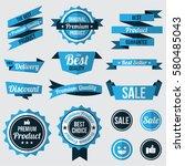 set of blue badges   labels and ... | Shutterstock .eps vector #580485043