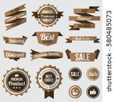 set of brown badges   labels... | Shutterstock .eps vector #580485073