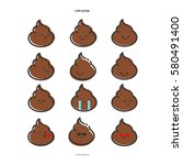 funny smiles  stickers  emoji ... | Shutterstock .eps vector #580491400