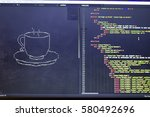 Small photo of ASCII art of drink cup and HTML code aside. Coffee or tea cup in typed symbols. Modern developer break concept.