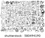 hand drawn food elements. set... | Shutterstock .eps vector #580494190