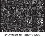 hand drawn food elements. set... | Shutterstock .eps vector #580494208