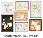 sticker notes pined on board... | Shutterstock .eps vector #580496134