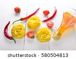 pasta with cherry tomatoes ... | Shutterstock . vector #580504813