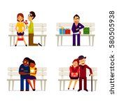 vector collection various happy ... | Shutterstock .eps vector #580505938