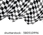 checkered flag flying on white... | Shutterstock .eps vector #580510996